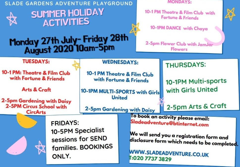 Summer Holiday Playscheme Monday 27th July-Friday 28th August
