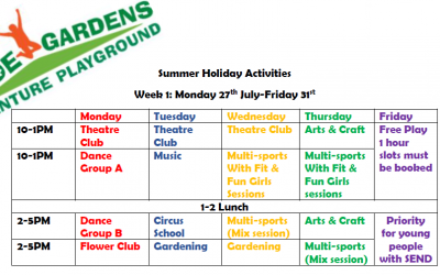 Summer Holiday Activity Timetable